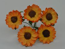 3 cm ORANGE YELLOW CHRYSANTHEMUM DAISY Mulberry Paper Flowers miniature card wedding